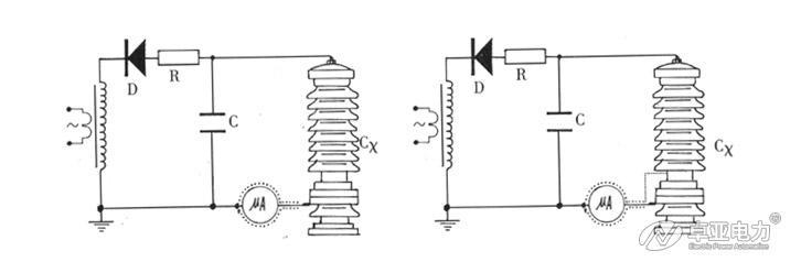微安表接入试品CX底部的接线图