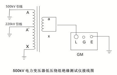 500kv数字兆欧表测量电力变压器低压绕组接线图