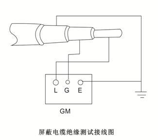 数字兆欧表测试屏蔽电缆绝缘电阻值接线图